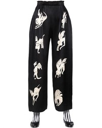 Wide Leg Printed Satin Trousers