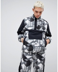 Fila X Liam Hodges Technical Fleece Printed Overhead Windbreaker In Black