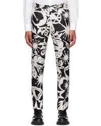 Alexander McQueen Black Off White Silk Paper Cut Printed Cigarette Trousers