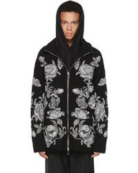 Valentino Black Knit Dark Blooming Zip Up Sweater
