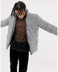 ASOS DESIGN Oversized Puffer Jacket In Dogstooth Print