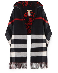 Burberry Hooded Checked Intarsia Wool And Cashmere Blend Scarf