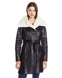 Belted coat with faux shearling medium 1327857