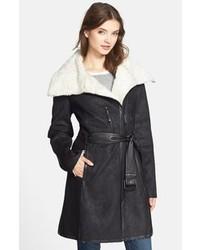 Vince Camuto Faux Shearling Asymmetrical Zip Coat