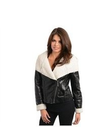 G2 Chic Hooded Shearling Lining Faux Leather Moto Jacket