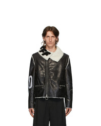 Off-White Black And White Shearling Zip Off Sleeve Jacket
