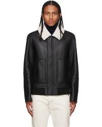 Yves Salomon Black Shearling Hooded Coat