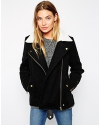 Brave Soul Biker Jacket With Faux Shearling Collar