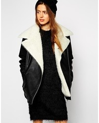 Asos Collection Biker Jacket With Oversized Faux Fur Collar