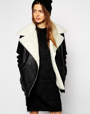 786a7d5be69ec ... Asos Collection Biker Jacket With Oversized Faux Fur Collar ...