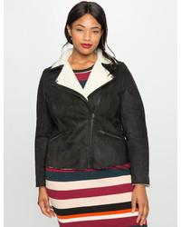 ELOQUII Plus Size Faux Suede Shearling Moto Jacket