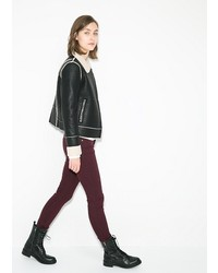Mango Faux Shearling Lined Biker Jacket