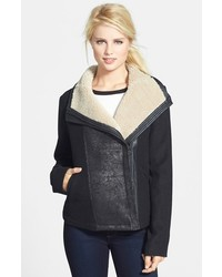 NYDJ Faux Shearling Trim Moto Jacket