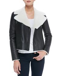 Alice + Olivia Front Zip Shearling Moto Jacket