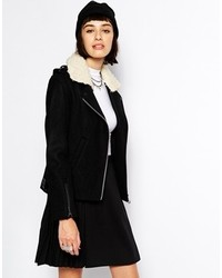 Eleven Paris Fuprem Biker Jacket In Wool With Faux Shearling Collar