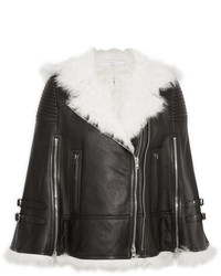Givenchy White Shearling Trimmed Cape In Black Leather Fr36