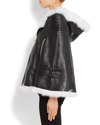 Givenchy White Shearling Trimmed Cape In Black Leather Fr38