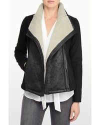 NYDJ Faux Shearling And Faux Leather Moto Jacket