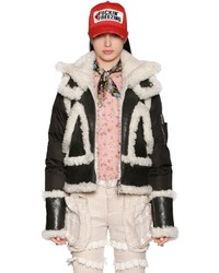 Dsquared2 Nylon Shearling Leather Down Jacket