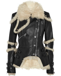 Alexander McQueen Shearling Lined Textured Leather Jacket Black
