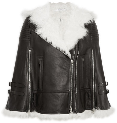 Givenchy White Shearling Trimmed Cape In Black Leather Fr34