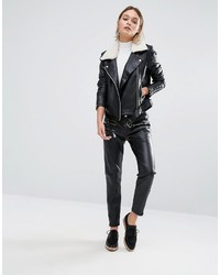 Yas Ash Leather Jacket With White Faux Shearling Collar