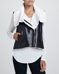 Black and white shearling vest original 10322254