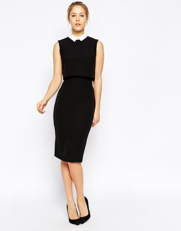 72b2ca3d88 ... Black and White Sheath Dresses Asos Collection Pencil Dress With Shell  Top With Contrast Collar ...