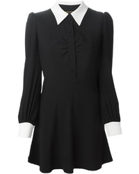 Saint Laurent Contrast Collar Blouse Dress