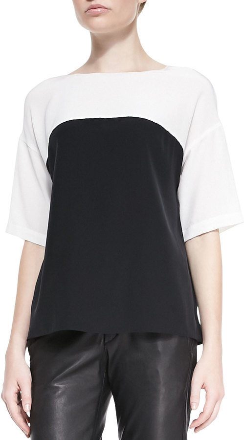 4a484896f560 ... Vince Silk Colorblock Short Sleeve Blouse ...