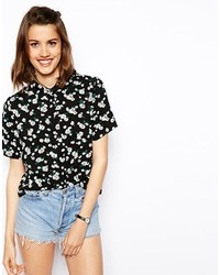 Black and White Short Sleeve Button Down Shirts for Women ...