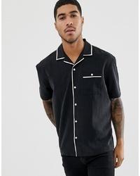 ASOS DESIGN Relaxed Viscose Short Sleeve Shirt With Piping