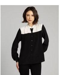 Black and White Silk Button Down Blouse