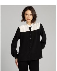 Black and white silk mandarin collar long sleeve button front blouse medium 16768