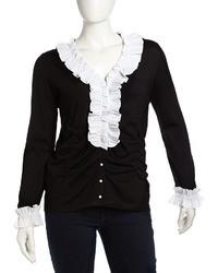 Go Silk Stretch Knit Ruched Cardigan