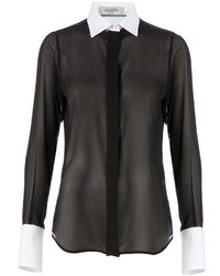 Valentino contrast collar sheer shirt medium 16767
