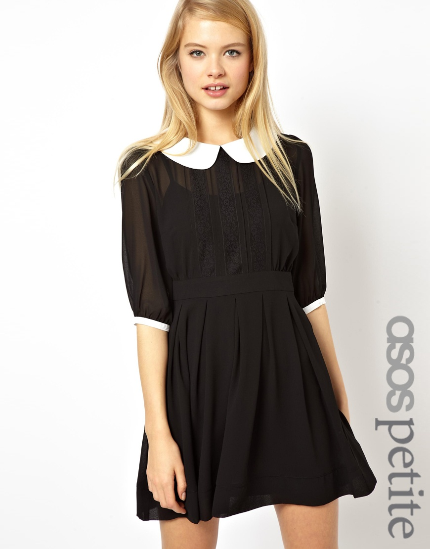 0ab6d8a89d91 ... Asos Petite Skater Dress With Lace Inserts And Contrast Collar