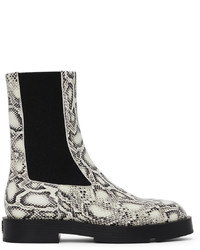 Givenchy White Black Python Squared Chelsea Boots