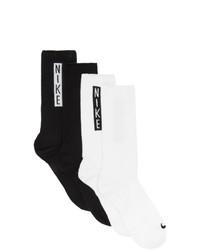 Nike Two Pack Black And White Crew Socks