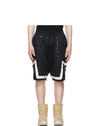 Mastermind World Black Jacquard Logo Tape Shorts