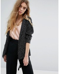 Maison Scotch Basic Printed Drapey Blazer With Contrast Piping