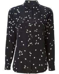 Black and White Star Print Dress Shirt