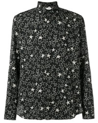 Black and White Star Print Long Sleeve Shirt