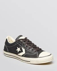 Black and White Star Print Low Top Sneakers