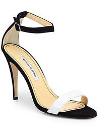 Manolo Blahnik Chaos Bicolor Leather Suede Ankle Strap Sandals