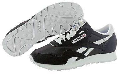 7d79ed1de5972 ... Reebok Classic Nylon 1 6606 Black White Suede Casual Shoes Medium ...
