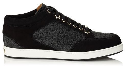 8ea2278ee0e3 ... Low Top Sneakers Jimmy Choo Miami Black Fine Glitter And Suede Sneakers  ...