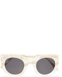 Illesteva Boca Cat Eye Marble Acetate Sunglasses Cream
