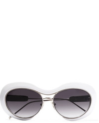 Sacai Linda Farrow Round Frame Acetate And Silver Tone Sunglasses White