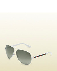 Gucci Medium Aviator Sunglasses With G Detail And Web On Temple